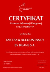Certyfikat C.I.K. FAB TAX & ACCOUNTANCY BY BILANS S.A.