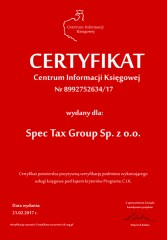 Certyfikat C.I.K. Spec Tax Group Sp. z o.o.
