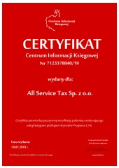 Certyfikat C.I.K. All Service Tax Sp. z o.o.