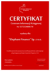 "Certyfikat C.I.K. ""Elephant Finance"" Sp. z o.o."
