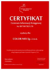 Certyfikat C.I.K. COLOR MIX Sp. z o.o.