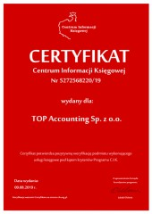 Certyfikat C.I.K. TOP Accounting Sp. z o.o.