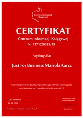 Certyfikat C.I.K. Just For Business Mariola Karcz